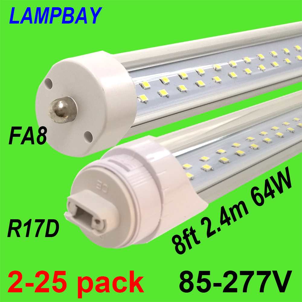 T12 Fluorescent Light Fixtures Us 54 2 25pcs Double Row Led Tube Lights 8ft 2 4m Super Bright Bulb Fa8 R17d Ho Rotated F96 T8 T10 T12 Fluorescent Lamp Bar Lighting In Led Bulbs
