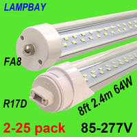 2 25pcs Double Row LED Tube Lights 8ft 2.4m Super Bright Bulb FA8 R17D(HO) Rotated F96 T8/T10/T12 Fluorescent Lamp Bar Lighting