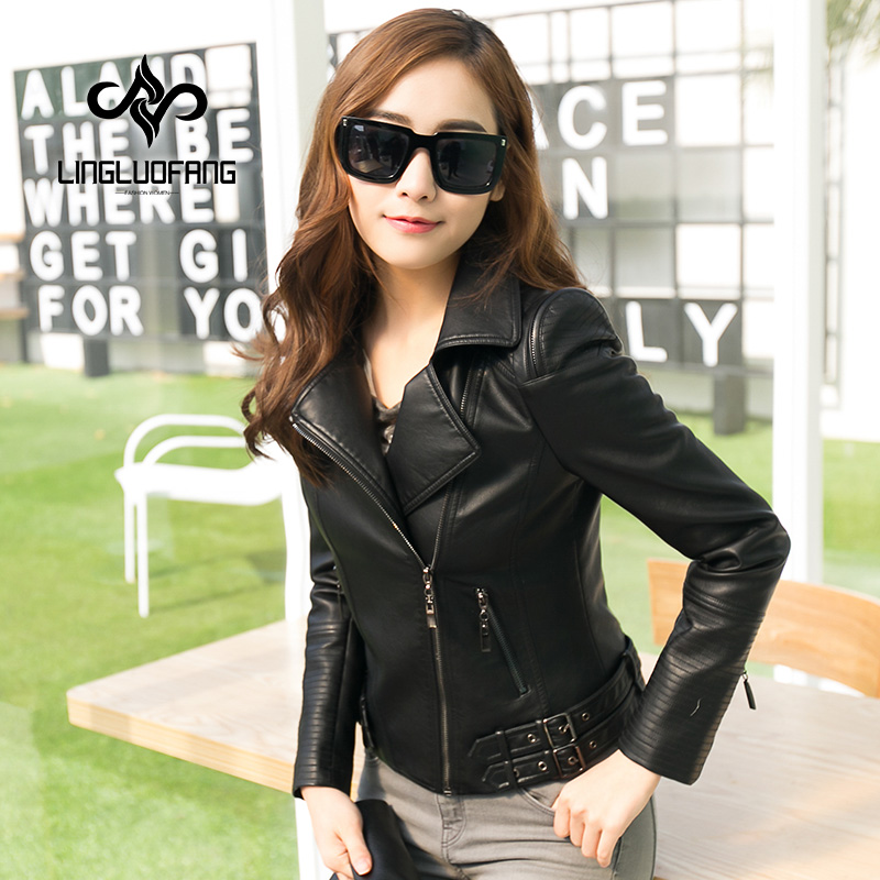 leather   jacket Women short paragraph lapel Slim black pink   leather   jacket PU   leather   motorcycle jacket plus size s-4xl 15H102