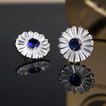 Fashion Classic Luxury High Quality Bijoux Jewelry Platinum Gold Round Zircon Women Stud Earring Wedding Christmas Girl Gift