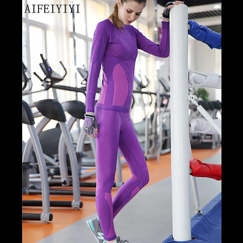 2019 Spring Women Fitness Quick Dry Compression Thermal Underwear Set Stretch Anti-microbial Warm Top&Leggings