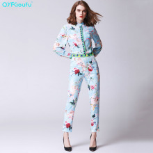 QYFCIOUFU High Quality Women Two Piece Set Bow Long Sleeves Tops And Blouses + Designer Runway Printed Long Floral Pants