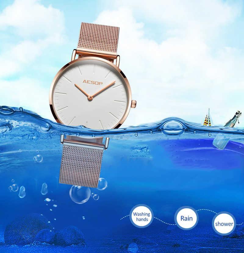Ezopa kobiet oglądać krótkie elegancki zegarek kwarcowy zegarek złota róża proste cienkie panie zegar wodoodporny Relogio Feminino Montre Saati