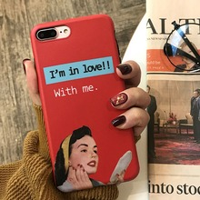 European And American Matte Retro Pinup Girl Phone Case For iPhone X XS MAX XR Simple English Alphabet Marbled Cases Back Cover