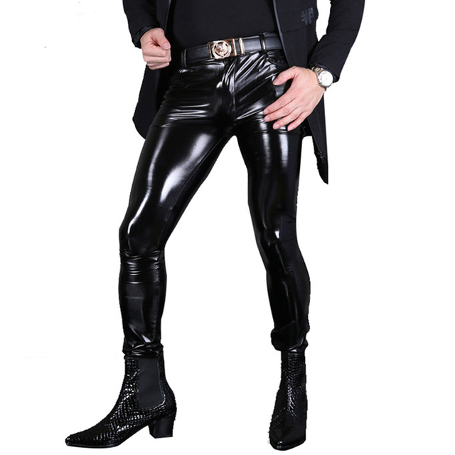 Sexy Men Fashion Pvc Shiny Skinny Faux Leather Pants For -6206