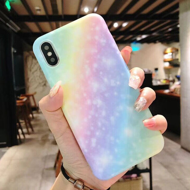 Fashion Gradient Color Rainbow matte Phone Cases For iPhone X 6 6S 7 8 Plus  Fashion Soft IMD New Shells Back Cover Coque 4093f1e36552