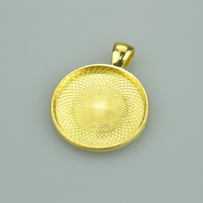 24 pcs metal charms gold color Round cabachon pendants jewelry findings and components fit Necklaces making A4029