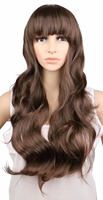 QQXCAIW Women Ladies Natrual Long Wavy Wig Cosplay Black Light Brown Dark Brown 68 Cm Synthetic Hair Wigs