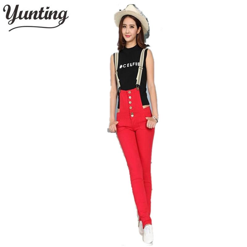 Nové stylové dámské kombinézy Denim Jumpsuit Jeans Suspender Kalhoty Jumpsuits Red Doprava zdarma