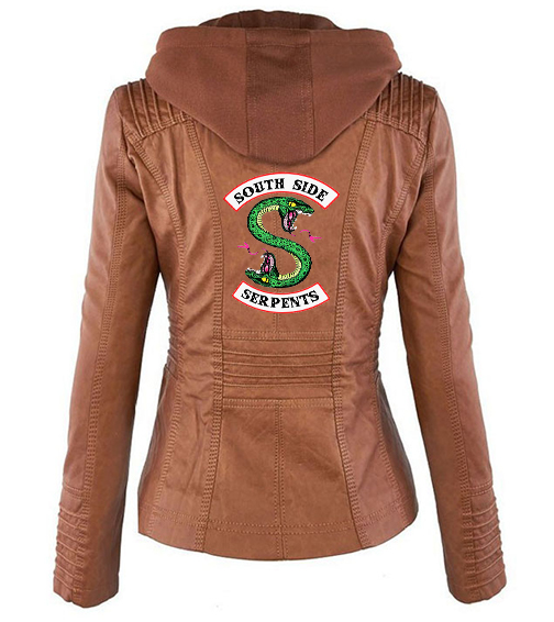 Riverdale Southside Riverdale Serpents black Brown PU Leather Jacket Women Riverdale Serpents Streetwear Leather Brand Coat 7