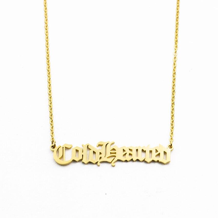 Personalisierte Alten Englisch Name Halskette Edelstahl Benutzerdefinierte Alte Vintage Schrift Name Tiny Brief Anhänger Halsketten Schmuck