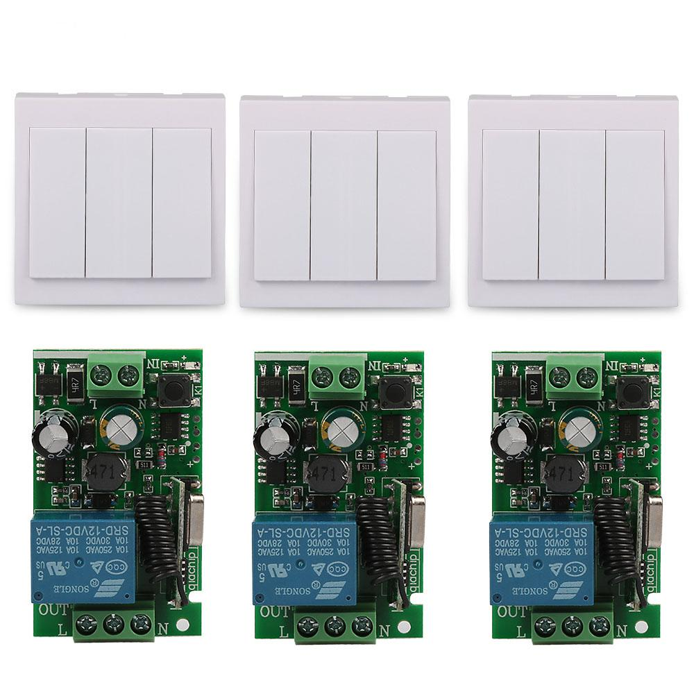 3 CH Wall Panel  Switch 433MHz RF Remote Control Switch Transmitter with 3pcs 433 MHz AC220V 1CH Wireless Relay Receiver Module mini stable 10a 220v 1ch rf remote control switch system for led bulb light strips receiver 86 wall panel transmitter
