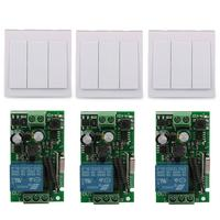 3 CH Wall Panel Switch 433MHz RF Remote Control Switch Transmitter With 3pcs 433 MHz AC220V