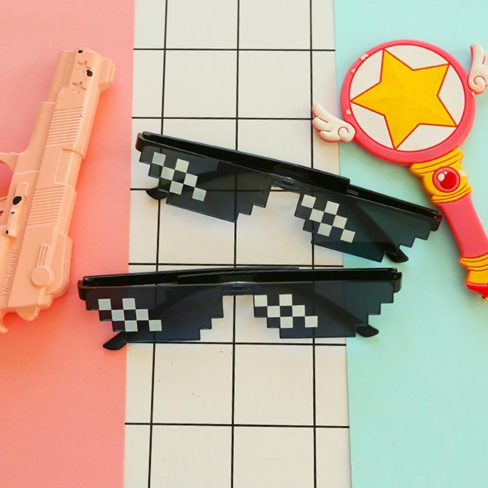 Funny Tricks Glasses 8 Bit Pixel Deal With IT Sunglasses Unisex Funny Sunglasses Toy Unglasses Trick Toy Thug Life Glasses