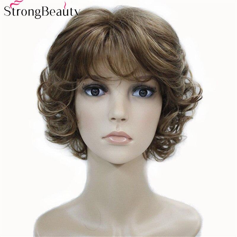 Pelucas sintéticas de belleza fuerte de las mujeres de los extremos rizados Peluca de fibra corta con flequillo en capas 17 colores