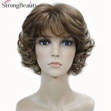 Perruque synthétique beauté forte avec bouts bouclés, 17 couleurs, pour femmes, perruque en Fiber courte avec frange superposée