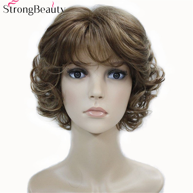Strong Beauty Synthetic Wigs Women's Curly Ends Short Fiber Wig With Layered Bangs 17 Colors
