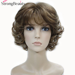 Image 1 - Strong Beauty Synthetic Wigs Womens Curly Ends Short Fiber Wig With Layered Bangs 17 Colors