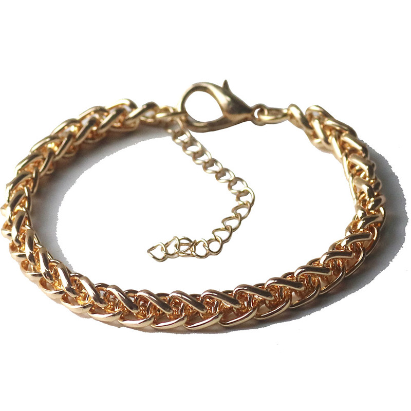 Men Rope Chain Bracelet Gold Stainless Steel Chain Link Bracelet Biker Hippie Hip Hop Men Jewelry Party Fathers Day Gift