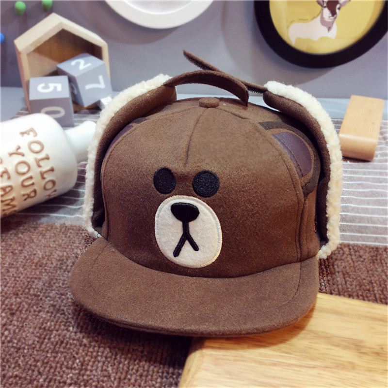 Bear Baseball Cap Kids Winter Snapback With Ears Cartoon Earflaps Boys Hat  Cute Children Warm Caps Girls Ribbit Embroidery Hats-in Baseball Caps from  ... 22897bc23c6