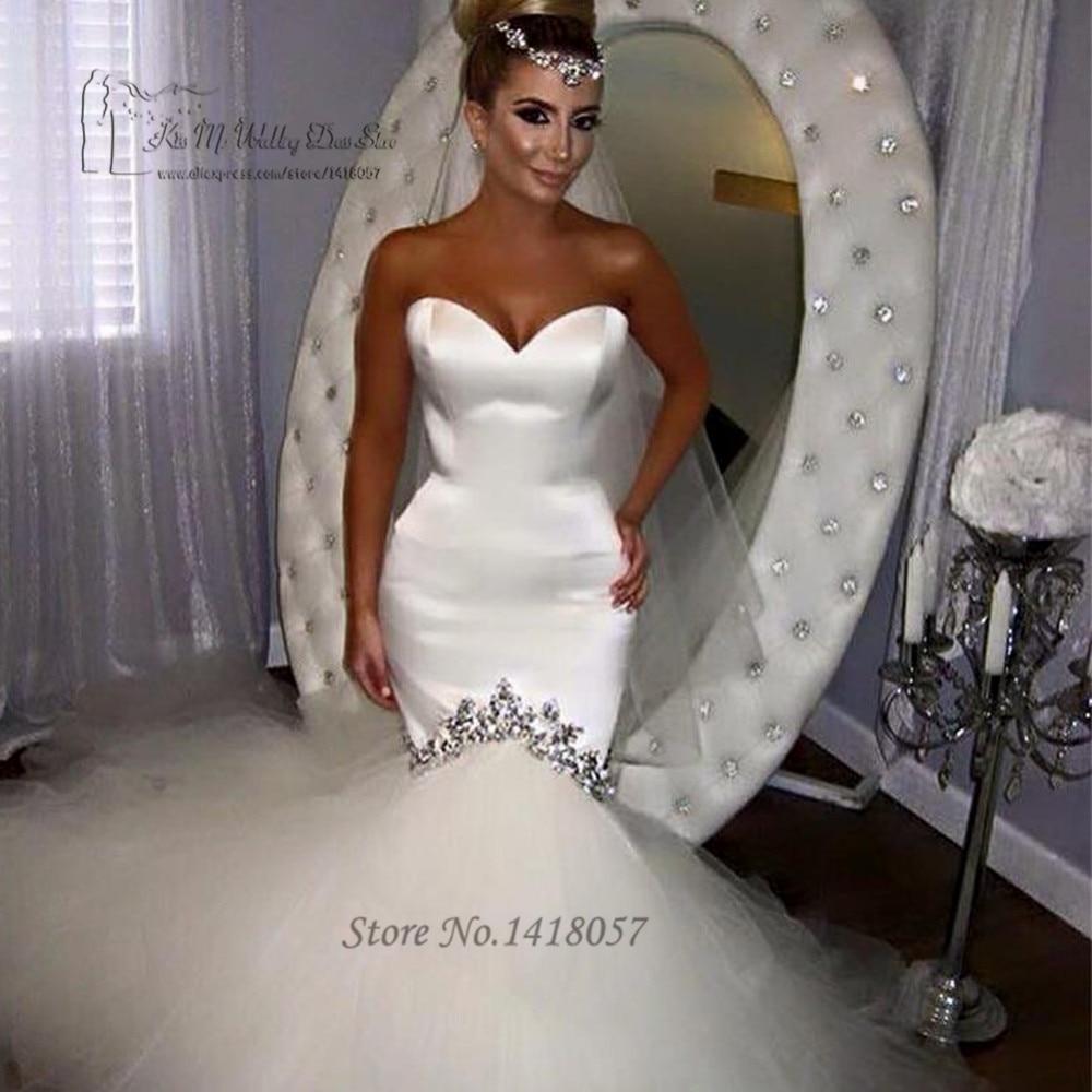 Vestido de Noiva Sereia Sexy White Wedding Gowns Beaded Mermaid Wedding Dress Crystals Tulle Lace up
