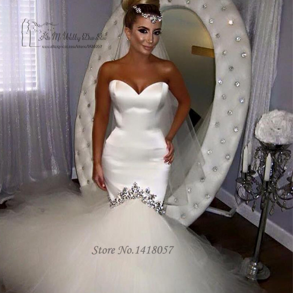 Vestido de Noiva Sereia Sexy White Wedding Gowns Beaded Mermaid Wedding Dress Crystals Tulle Lace up Back Bridal Dresses 2017