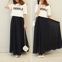 Women Spring Summer Chiffon Long Skirt Candy Color Beach Casual Pleated Maxi Skirts 11 Color