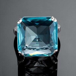 Image 5 - Szjinao תרשיש טבעת כסף 925 לנשים אמיתי 925 סטרלינג כסף בציר טבעות פנינה גדולה כחול אבן פיין תכשיטי חג המולד