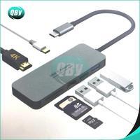 1 x 6 in 1 TC643 TYPE-C adapter Type-C to USB 3.0 X 2 + HDMI + SD/TF Card Reader hub Silver Grey (3)