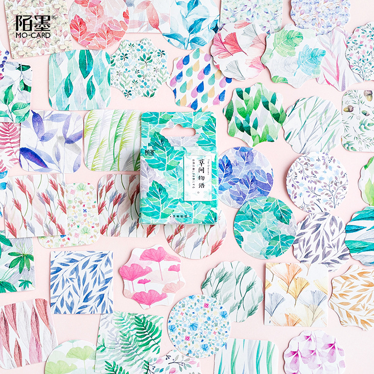 Creative Green Plants Grass Paper Stickers Flakes Vintage Romantic For Diary Decoration Diy Scrapbooking Stationery Sticker