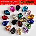 13x18 Drop shaped transparent glass rhinestones with claw apply to Clothing Decoration 20pcs/pack