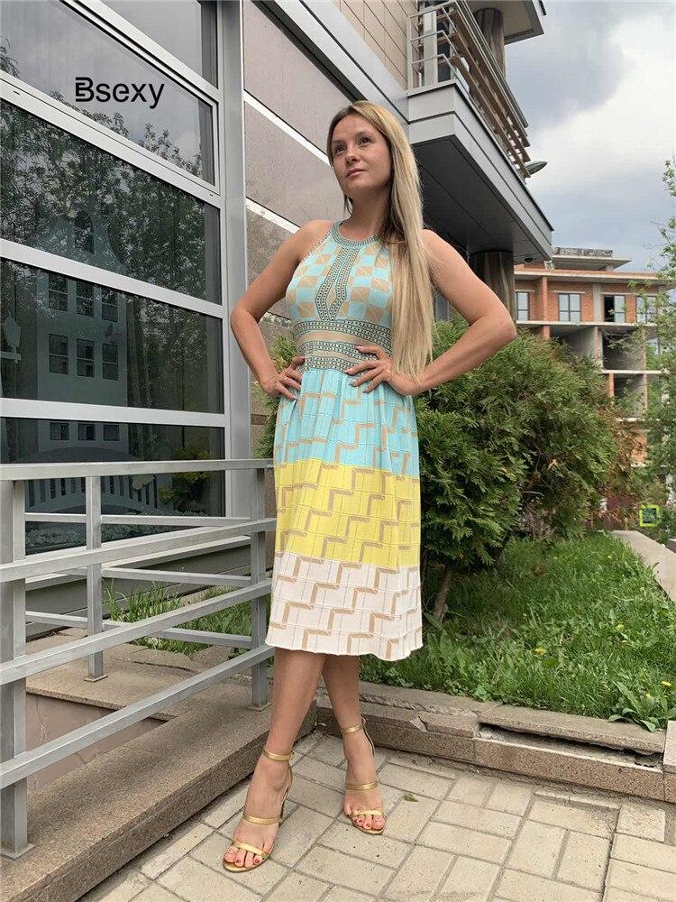 2019 Summer Women Knitting Dress Sexy Halter Neck Sleeveless Bohemian Plaid Long Sweater Dress ladies Boho vestidos mujer