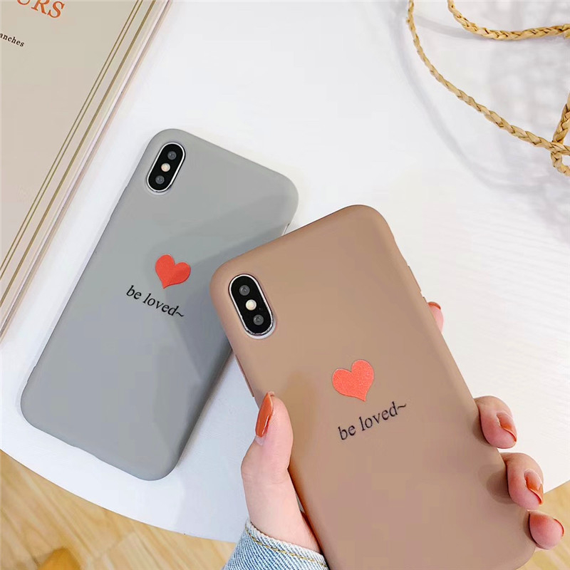 Hot Tpu material Silica gel  Loving Cover Case For iphone 6 6S 7 8 Plus X XR XS Max Fashion Solid color personality Cases Couple