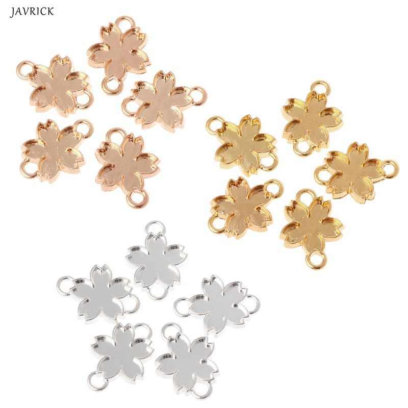 5 Pcs DIY Handmade Pendant Jewelry Frame Mold Double Hook Cherry Blossom Petals Border UV Resin Epoxy Glue Metal Hollow Border