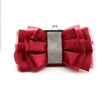 Red Chinese Women s Satin Rhinestone Handbag Clutch Evening Bag Party Bridal Purse Makeup Bag Free