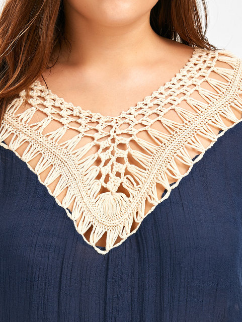 Women Tops V Neck Lace Crochet Tshirts Loose Tops Shirts One Size