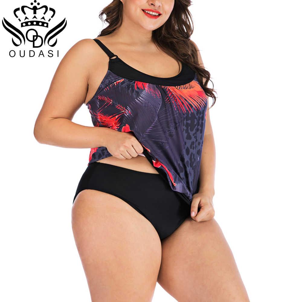 Nieuwe Plus Size Badmode Vrouwen Badpak Twee Stukken Tankini Padded Badpak Polka Print Bloemen Hoge Taille Bikini Set Beachwear