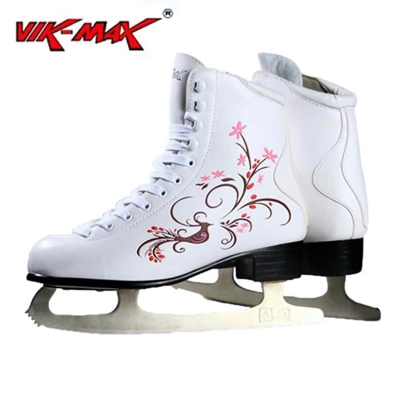 Prix pour VIK-MAX Adulte Enfants En Cuir Blanc Chaussures de patins à glace Figure Avec cadre En Alliage D'aluminium et Acier Inoxydable glace lame