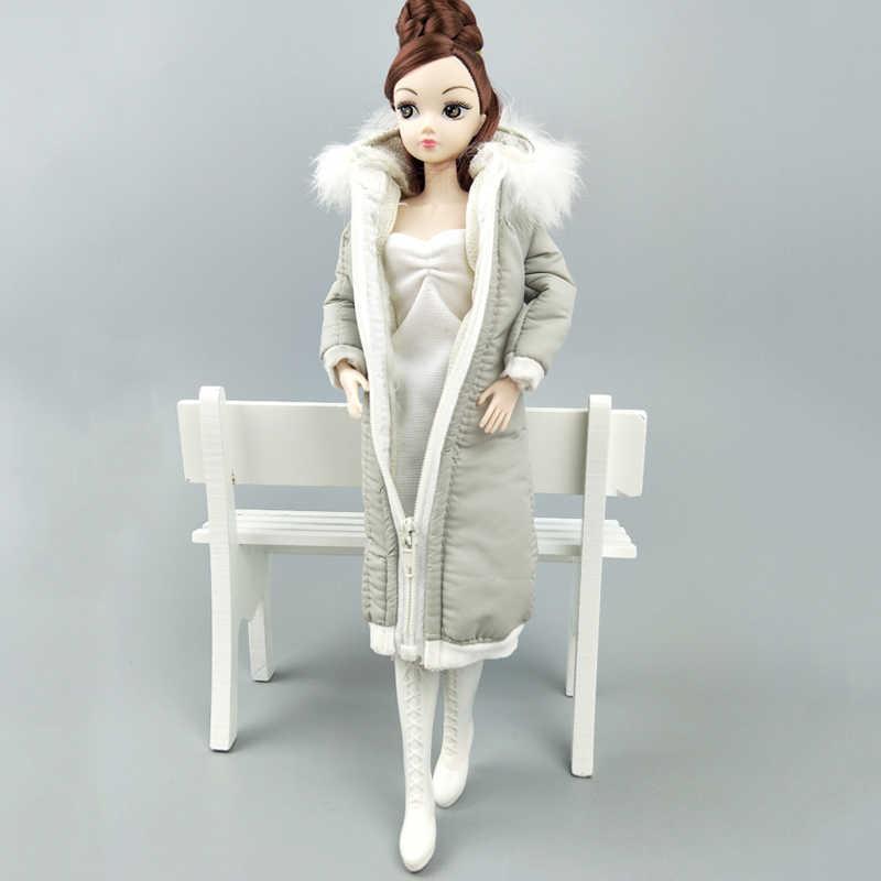 グレー冬服ロングコートのためのバービー人形の服ドレス衣装パーカー 1/6 BJD 人形ジャケット 1:6 人形アクセサリー子供のおもちゃ