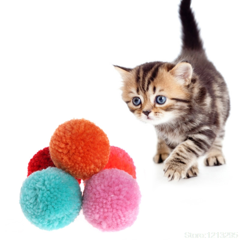 5 Pcs Cat Toy Plush Balls Assorted Pet Game Kitten Interactive Soft Candy Color W215