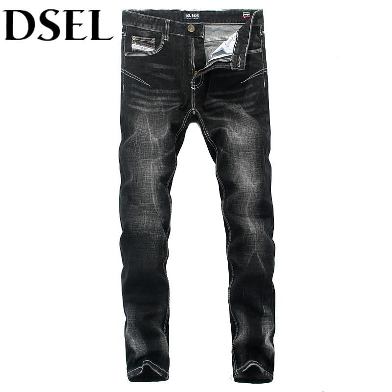 Black Color Denim Stripe Jeans Mens Pants DSEL Brand Skinny Jeans Elastic Trousers Fashion Street Designer Men Jeans Plus Size