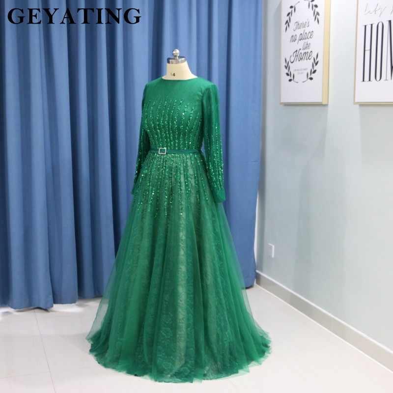 0f780d91d45f ... Vintage Lace Green Dubai Evening Dress 2019 Elegant Long Sleeves Arabic  Muslim Prom Dresses Beading Crystal ...
