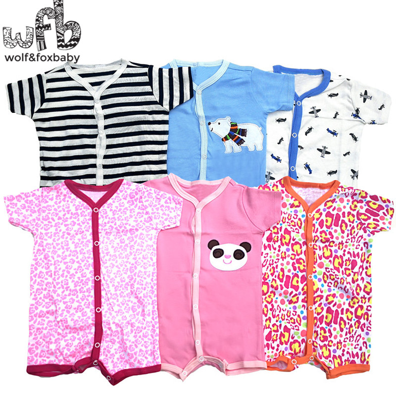 Retail 3pcs/lot 0-24months Short-Sleeved Baby Infant Romper Cartoon For Boys Girls Jumpsuits Clothing Clothes