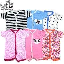 Розничная ; 3 шт./лот; комбинезон с короткими рукавами для маленьких детей 0-24 месяцев; комбинезоны для мальчиков и девочек с героями мультфильмов; одежда