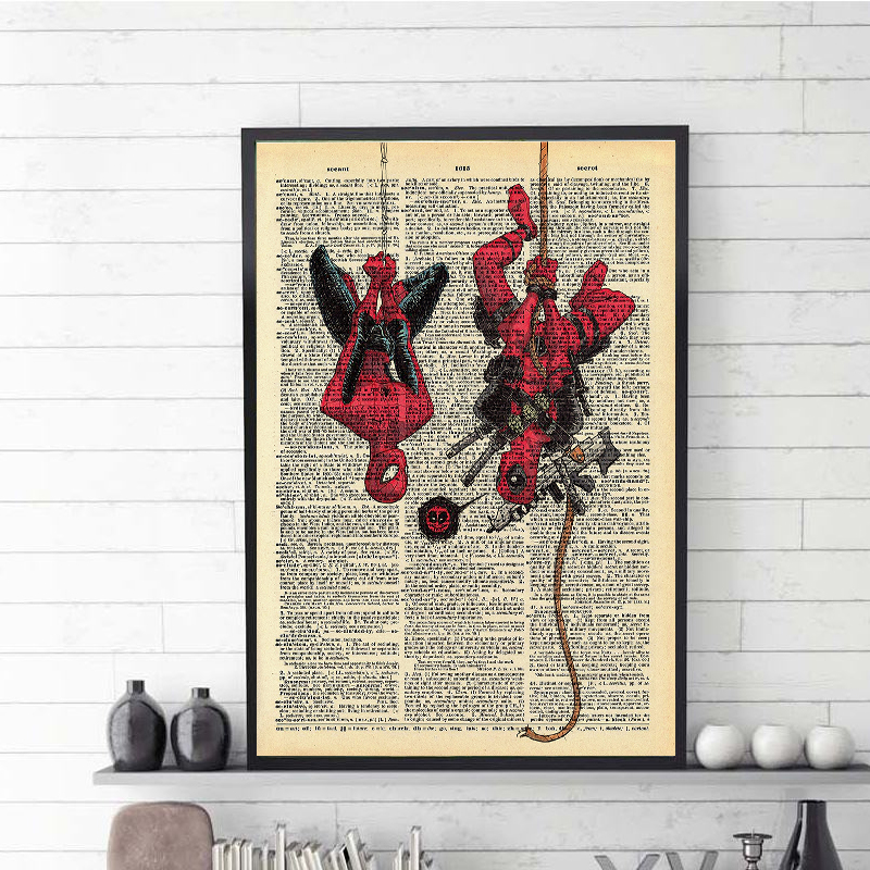 Super Hero Posters Spiderman & Deadpool Poster Wall Art Painting Vintage Nordic Poster Art Wall Pictures For Home Decor image