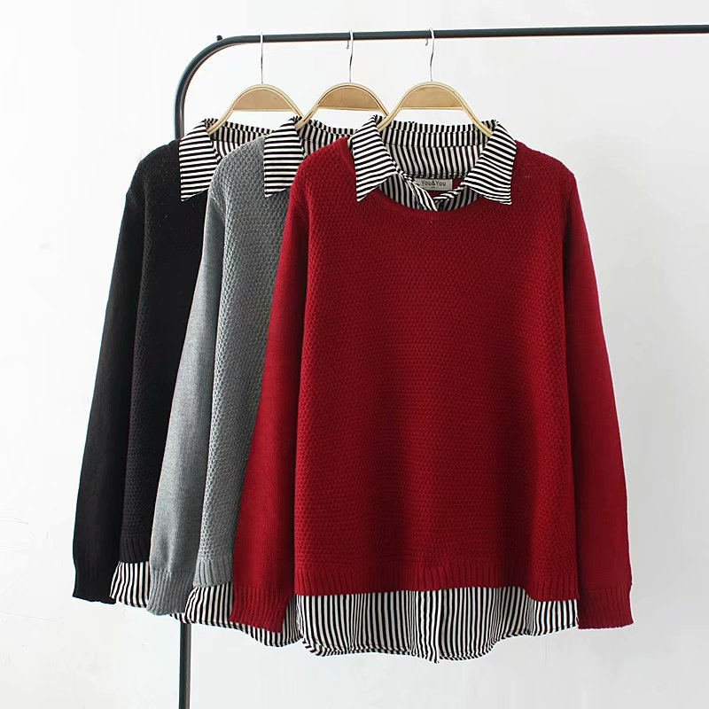 Plus size dark red & gray & black pullovers knitting Autumn patchwork women sweaters 2018 Two false pieces ladies pull femme