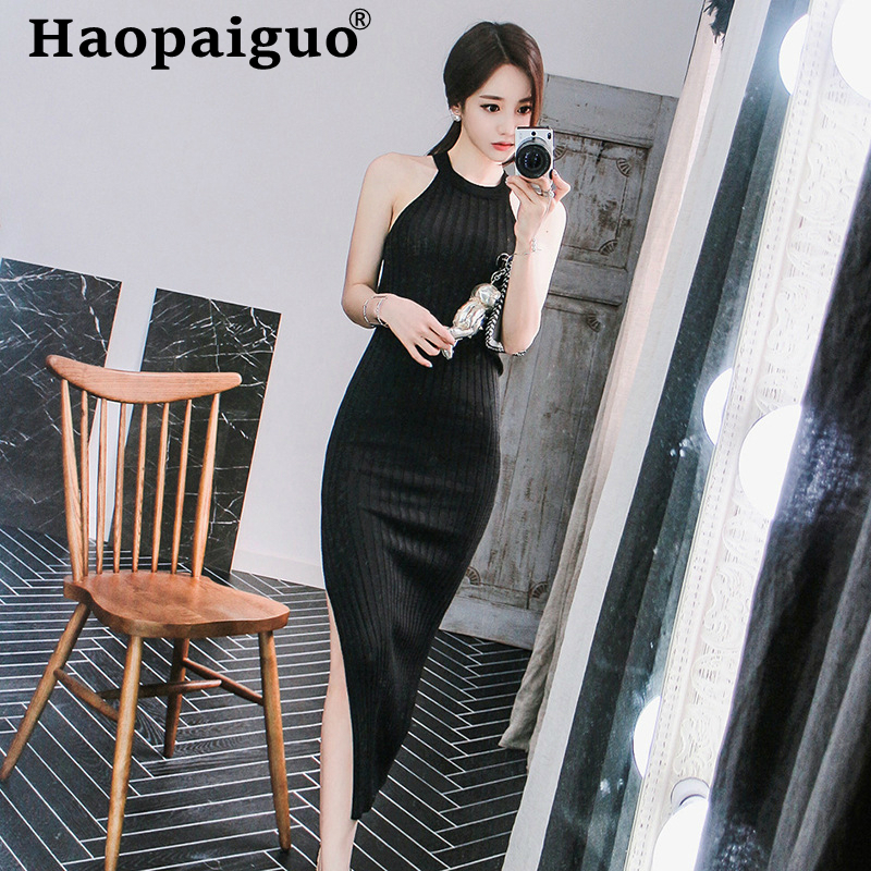 Halter High Elastic Knitted Dress Women Off-Shoulder Split Bodycon Bandage Black Summer 2019 Plus Size Vestido