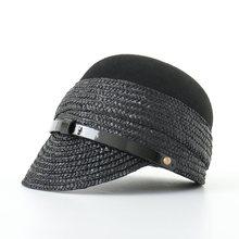 Military-Hat Autumn Women for Pu-Belt Wide-Brim Laday Female Gorros Wool-Straw Brand-New