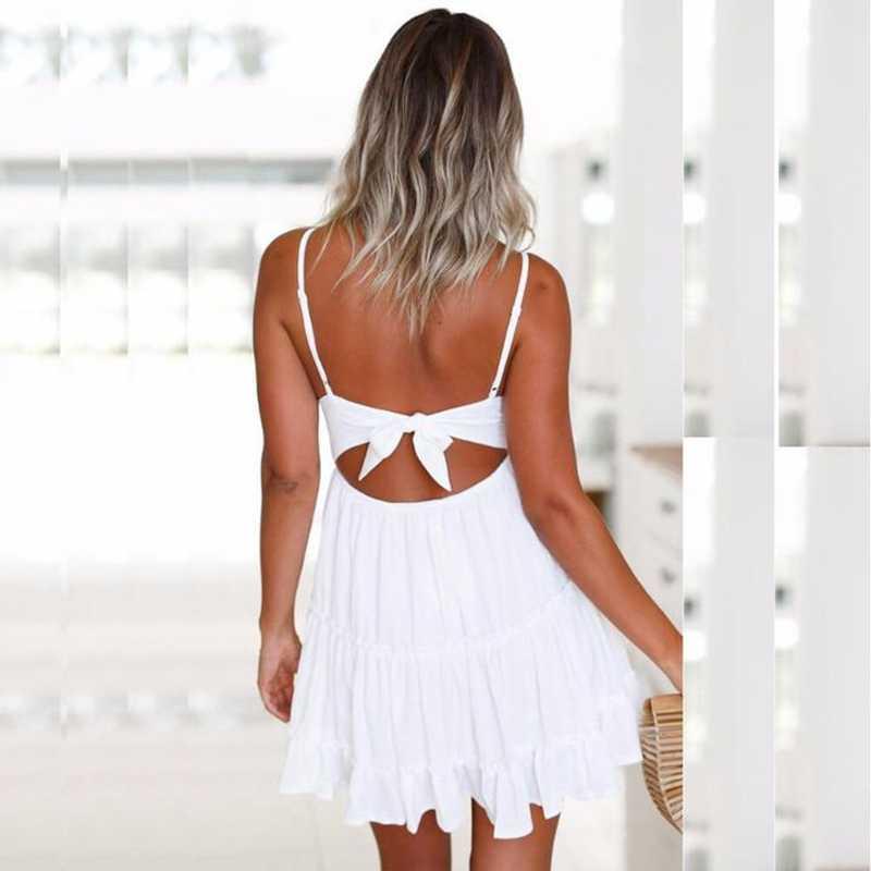 Сексуальный модный вязаный крючком женский кружевной топ с v-образным вырезом и ремешками, Bodycon, открытая спина, Повседневные Вечерние, Коктейльные, праздничные, пляжные мини-платья