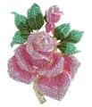 """Великолепный 5.32 """"Золотой Тон Розовый Горный Хрусталь Хрустальная Роза Цветок Брошь Pin EE02994C12"""